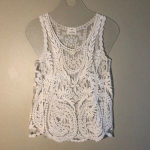 Cream embroidered tank top by Pins and Needles sm